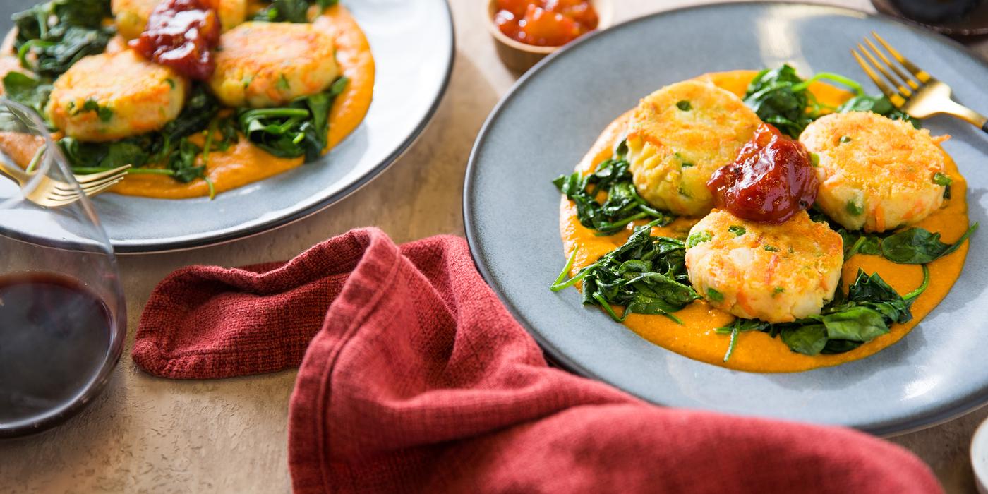 Potato Malai Kofta with Sauteed Spinach & Tomato Chutney