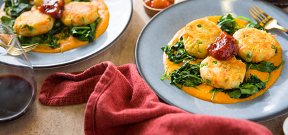 Potato Malai Kofta with Sauteed Spinach & Tomato Chutney