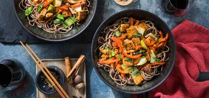 Five Spice Tofu Stir-Fry with Soba Noodles & Chile-Apricot Sauce