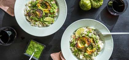 Pan Seared Avocados with Cumin Confetti Rice & Tomatillo Salsa