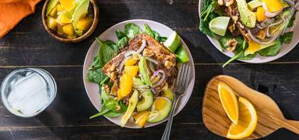 Mole Enfrijoladas with Walnuts & Citrus Avocado Salad