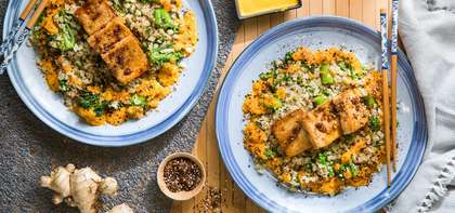 Sticky Sesame Tofu with Cauliflower Rice & Carrot Ginger Dressing