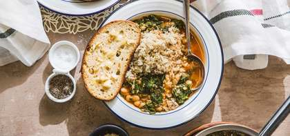 Beans and Greens Ragout with Brown Rice & Garlic Toasts