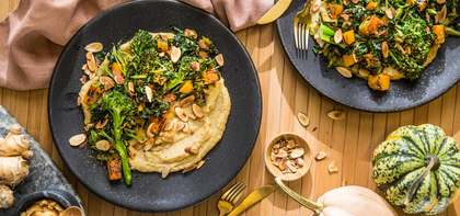 Miso-Ginger Polenta with Sesame Stir-Fried Vegetables & Almonds