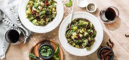 Pesto Rigatoni with Crispy Brussels Sprouts & Sun-dried Tomatoes
