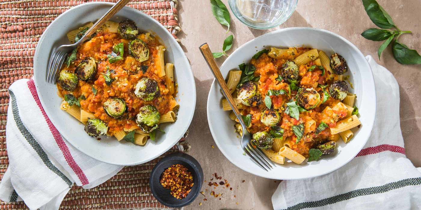 Rigatoni Bolognese with Roasted Brussels Sprouts & Garlic Oil