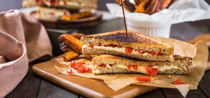 Grilled Cheese with Red Pepper Relish & Sweet Potato Fries