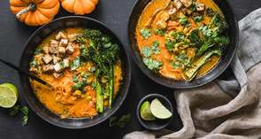 Yellow Curry Carrot Noodles with Black Garlic Tofu & Edamame