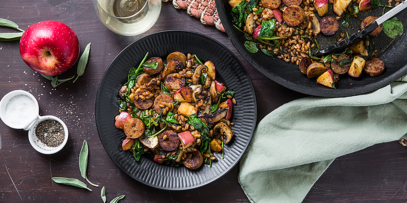 Apple & Herbed Sausage Skillet with Farro & Spinach