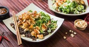 Kung Pao Cauliflower with Quick-Pickled Bok Choy & Black Quinoa