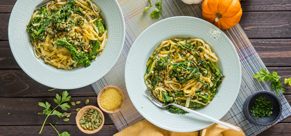 Pumpkin Alfredo with Seared Broccolini & Toasted Pepitas
