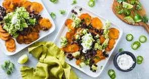 Loaded Sweet Potato Nachos with Chipotle Black Beans & Avocado Salsa