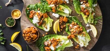 Tandoori Chickpea Lettuce Wraps with Butternut Squash & Mango Chutney