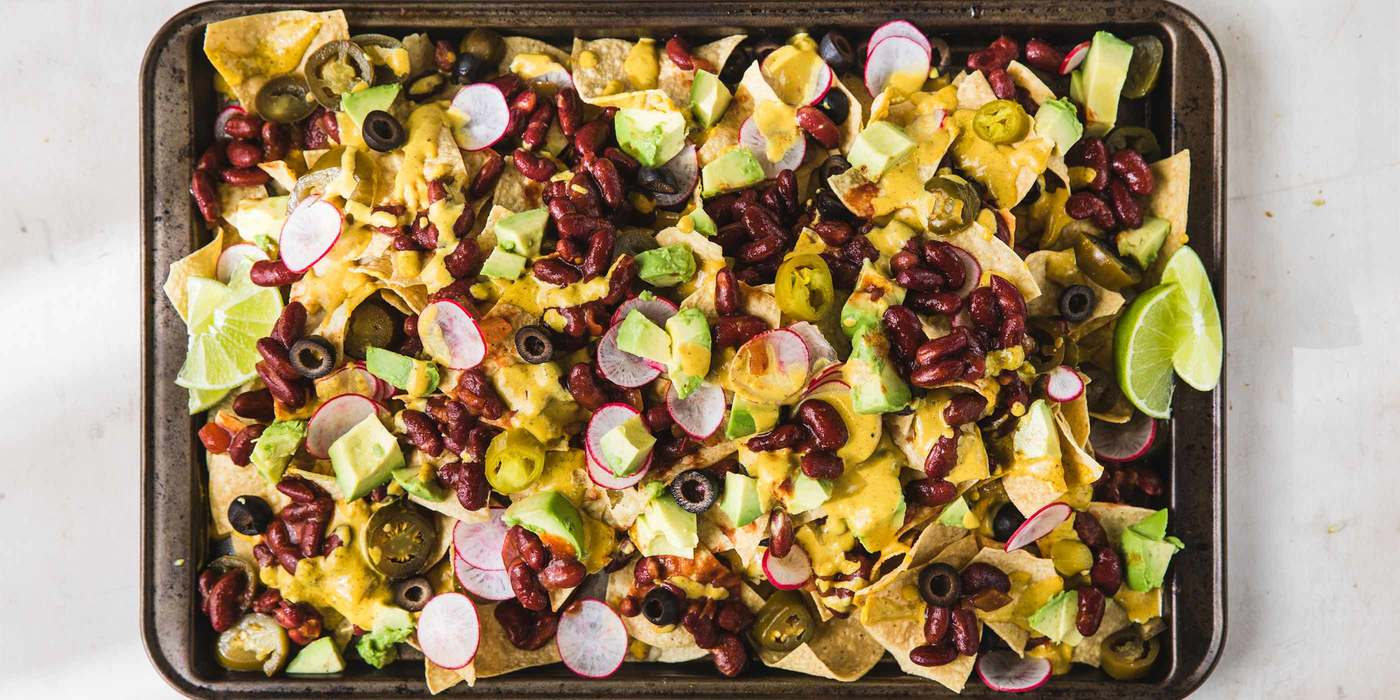 Loaded Nachos with Cashew Cheese Sauce