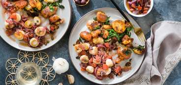 """Scallops"" Veracruz with Smashed Paprika Potatoes & Spinach"