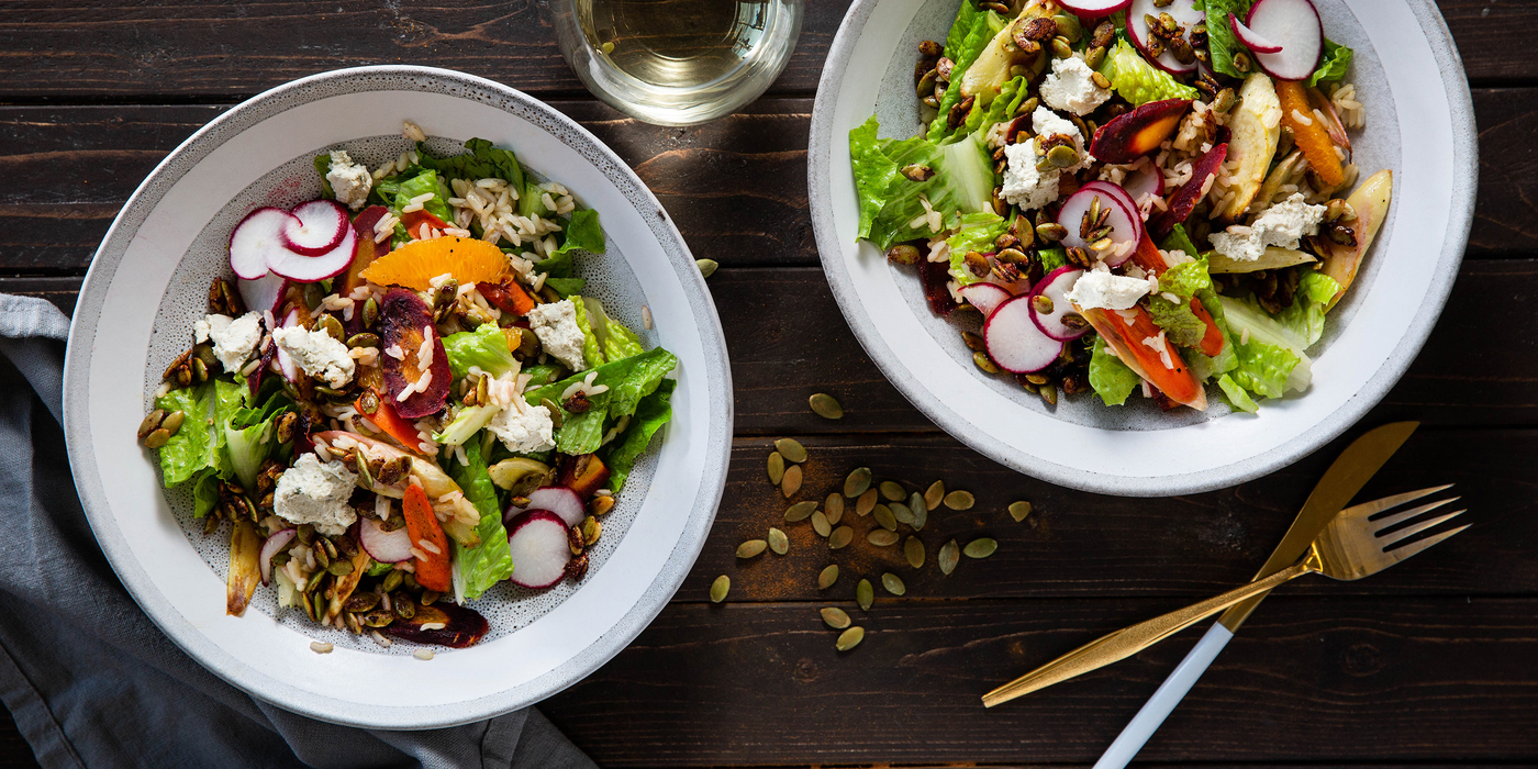 Roasted Roots Salad with Spicy Pumpkin Seeds & Orange Vinaigrette
