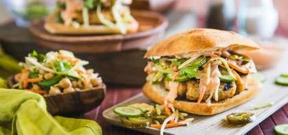 Banh Mi Burgers with Cilantro Broccoli Slaw & Sriracha Mayo