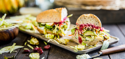 Thanksgiving Sandwiches with Roasted Brussels & Classic Gravy