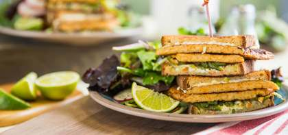 Tex-Mex Tempeh Melt with Lime Slaw & Charred Poblano