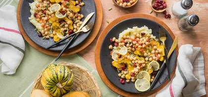 Garlic Roasted Acorn Squash with Mashed Potatoes & Cranberry Chickpea Relish
