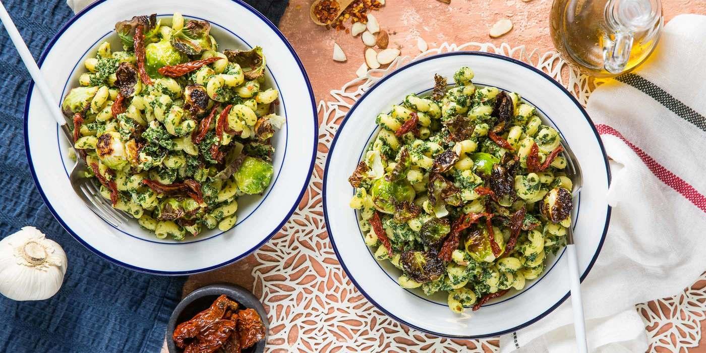 Kale Pesto Cavatappi with Crispy Brussels & Sun-dried Tomatoes