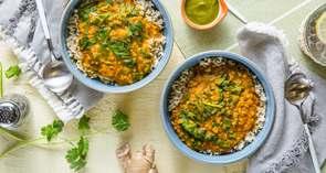 Red Lentil Coconut Dal with Cilantro Chutney & Brown Basmati Rice