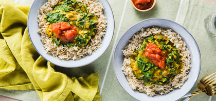 Red Lentil Coconut Dal with Tomato Chutney & Brown Basmati Rice