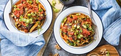 "Miso-Chili ""Meatballs"" with Zucchini Noodles & Sesame Tomato Sauce"