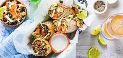 Black Bean Burritos with Quick Cabbage Slaw & Lime Crema