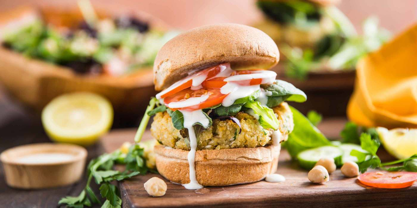 Tabbouleh Burger with Tahini-Yogurt & Chickpea Salad
