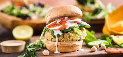 Tabbouleh Burger with Tahini-Yogurt & Chickpea Salad