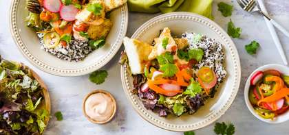 Vietnamese Tofu Bowl with Quinoa Speckled Rice & Quick Pickles