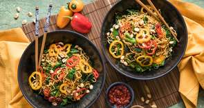 Sesame-Ginger Noodles with Stir Fried Greens & Toasted Peanuts
