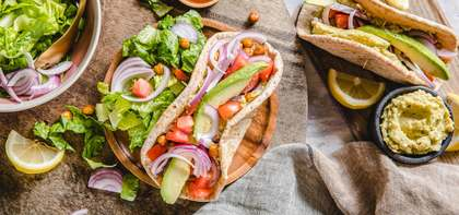 Crispy Buffalo Chickpea Wraps with Avocado Hummus & Romaine Salad