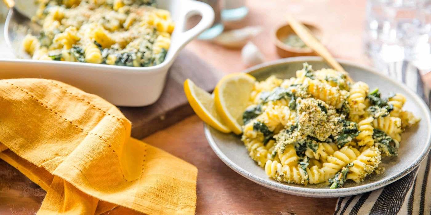 Creamy Butternut Pasta Bake with Kale & Pepita Parmesan