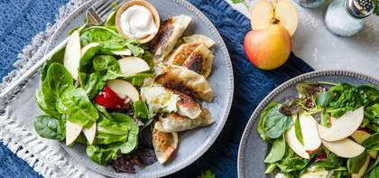Pierogi-style Mushroom Dumplings with Sauerkraut & Apple Arugula Salad