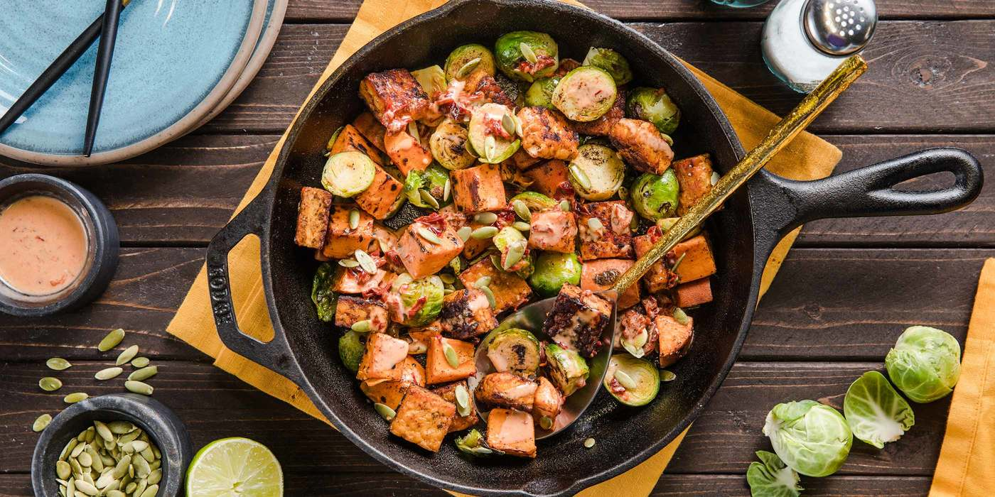 Tempeh Brussels Sprouts Hash with Sweet Potatoes & Maple Chipotle Cream