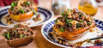 Quinoa Stuffed Acorn Squash with Walnut Date Butter