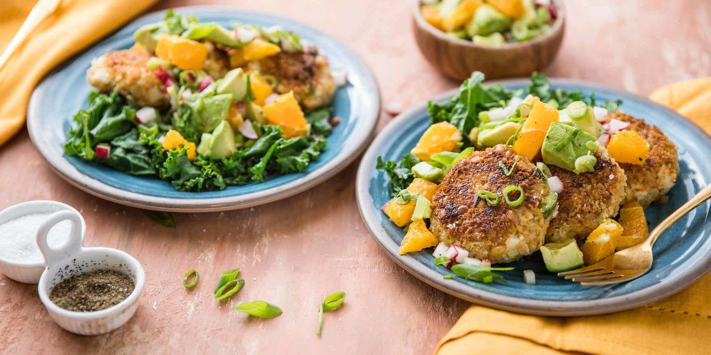 Fabcakes with Sauteed Greens & Avocado Citrus Salad