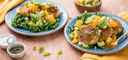 Fabcakes with Sauteed Greens & Avocado Citrus Salad