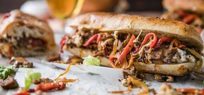 Seitan Philly Cheesesteak with Roasted Red Peppers & Onions