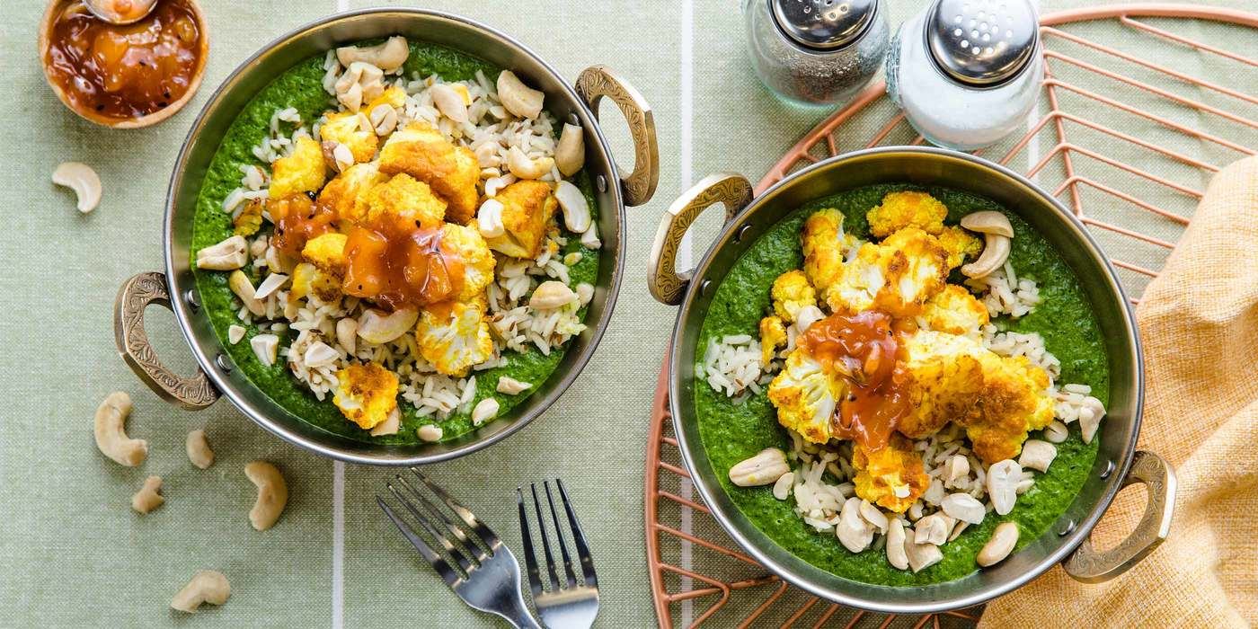Roasted Cauliflower Saag with Cumin Rice & Mango Chutney