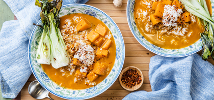 Winter Squash Soup with Sticky Rice & Sesame Bok Choy
