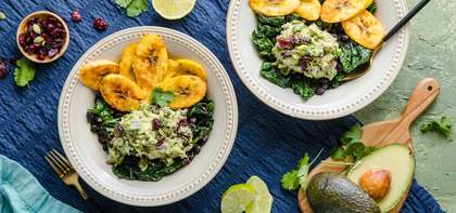 Plantain Bowl with Black Beans & Loaded Guacamole