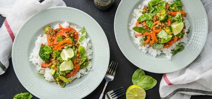 Lentil Green Curry with Jasmine Rice & Vegetables