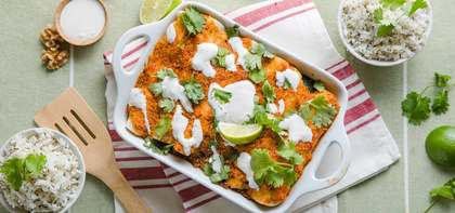 Cauliflower-Walnut Enchiladas in Salsa Roja & Lime Crema