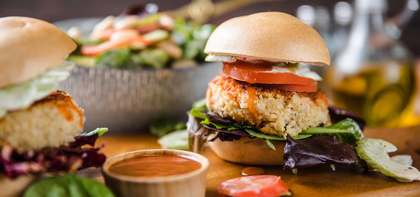 "Buffalo White Bean Burger with Celery Slaw & ""Bleu Cheese"" Dressing"