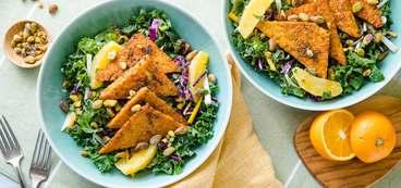 Winter Salad with Orange Blackened Tempeh & Tahini Dressing