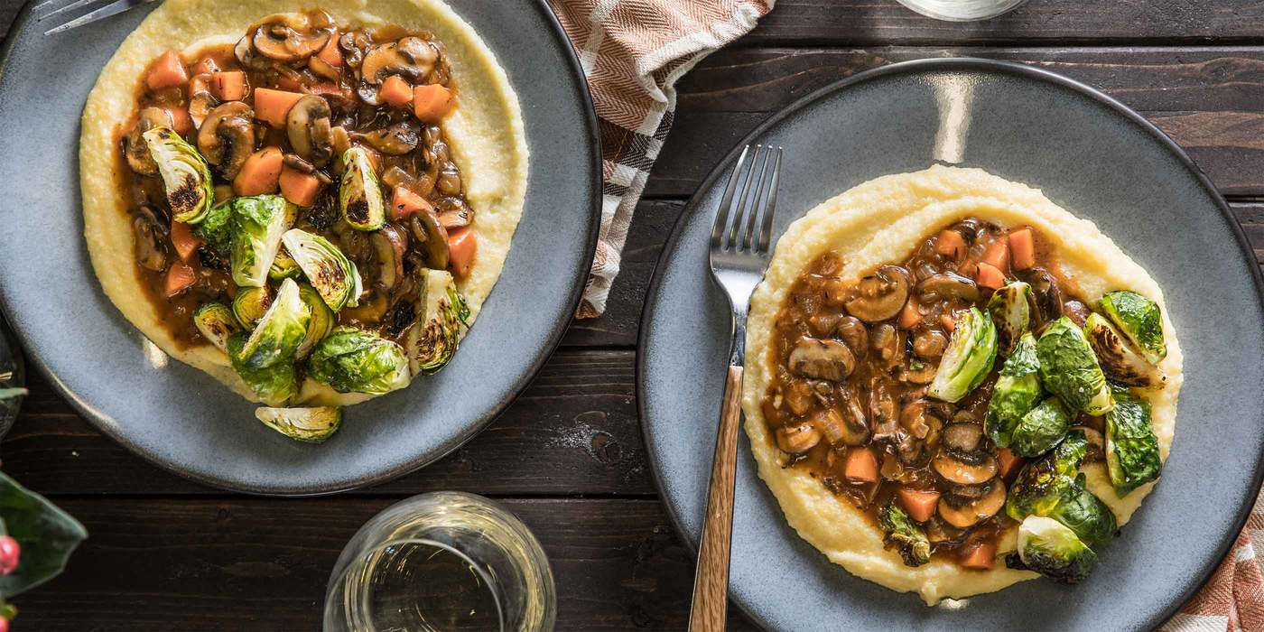 Mushroom Bourguignon with Creamy Polenta & Roasted Brussels Sprouts