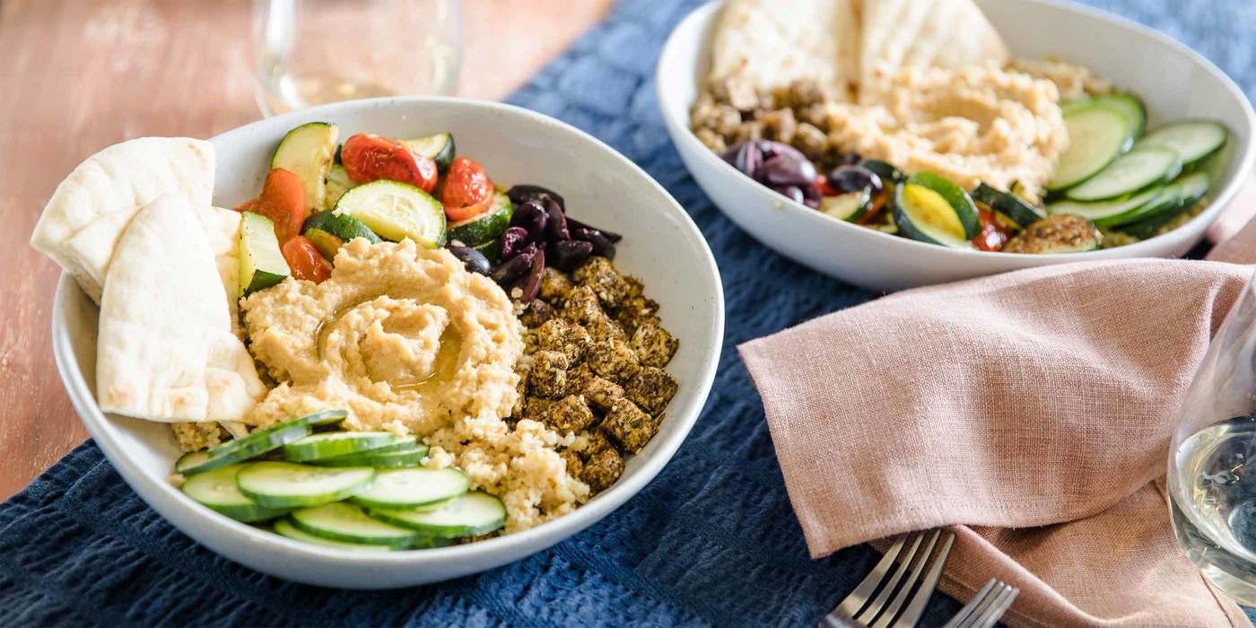 Roasted Vegetable Hummus Bowl with Za'atar Tofu & Freekeh